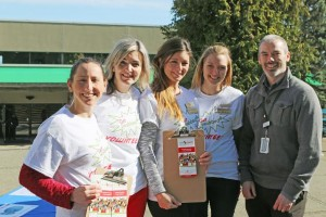VIU third-year Nursing students (left to right) Jaime Crucil, Courtney Johnston, Jennifer Simm, and Jacquelyn Janzen, along with Chris Barron, territory manager for Canadian Blood Services Vancouver Island.