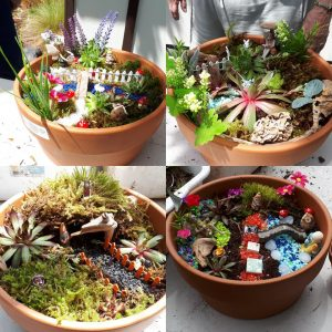 A collage of four mini gardens decorated in flower pots.