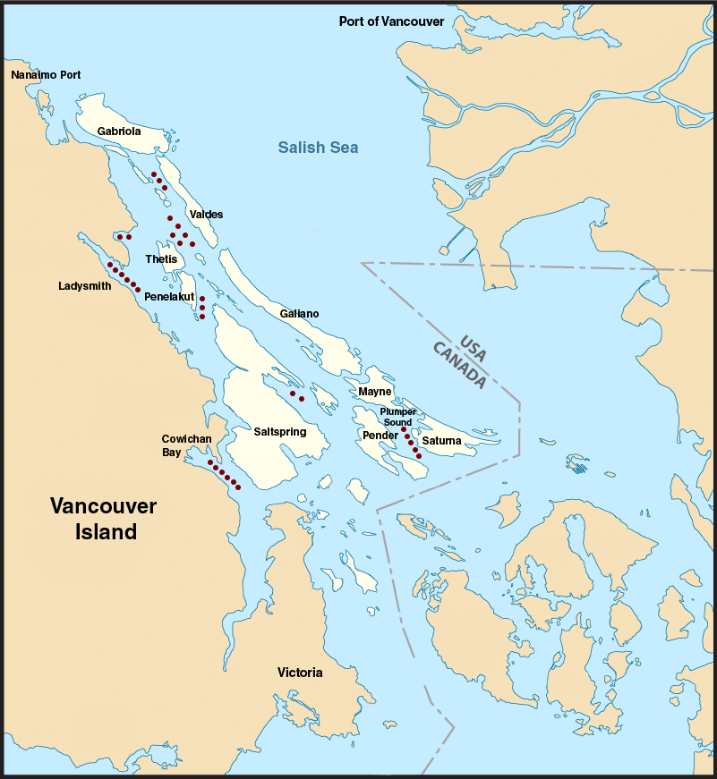 [I.D.: A map of the Southern Gulf Islands and where each of the 33 anchorages sit within them, surrounded by the Salish Sea. The Gulf Islands are in a light shade of beige and Vancouver Island (left) and the Lower Mainland (right) are in darker beige.
