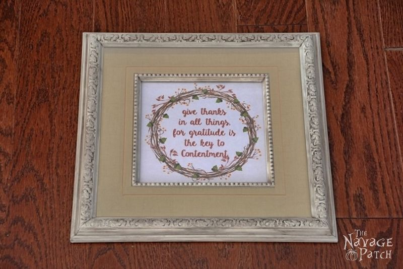 In the Frame - No.2 | DIY picture frame makeover | Painted and antiqued frame | Free Thanksgiving printable | DIY burlap picture frame mat | How to make a burlap picture frame mat | How to paint and distress plastic frames | Before & After | DIY home decor | TheNavagePatch.com