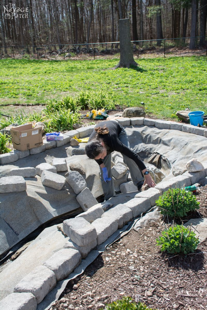 The Pond Project | DIY pond and backyard makeover | DIY garden edging | How to lay edge stones | How to edge garden beds | Tips on landscaping | DIY garden decor | DIY koi pond lining | How to maintain a koi pond | Spring planting and transplanting | Pond and backyard reveal | Before & After | TheNavagePatch.com