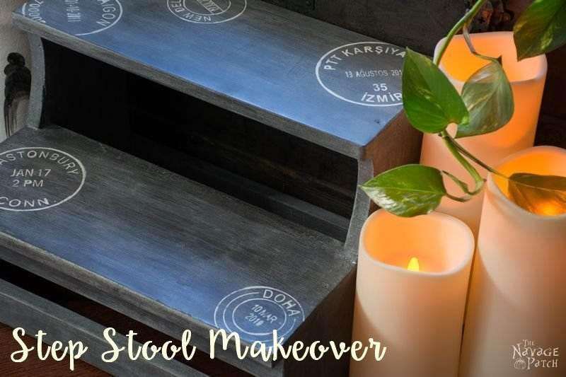 Step Stool Makeover | DIY furniture makeover with homemade chalk paint | Homemade chalk paint recipe | How to work with white wax | Farmhouse style step stool makeover | How to stencil | Step-by-step stenciling tutorial | Painted and stenciled step stool | Before & After | DIY chalk paint recipe | TheNavagePatch.com