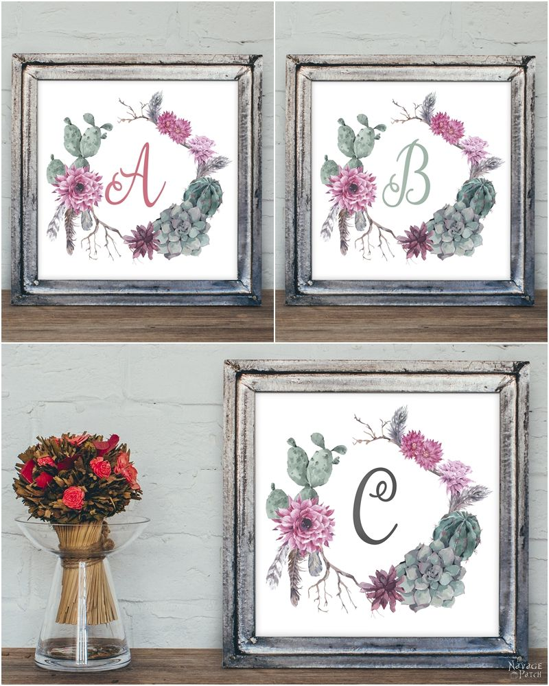 free printable succulent monogram wall art the navage patch