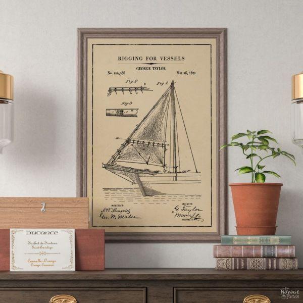 Free Nautical Wall Art Printables Vintage Patent