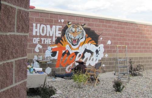 Tiger at gym entrance