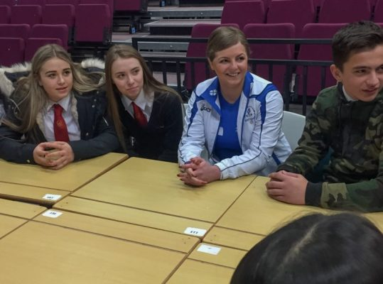 Steph Inglis meets with students at Broughton High School to talk about the dangers of motorbikes.