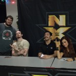 """Jacob """"BestintheRealm"""" Hauter at an NXT show with Aiden English and Simon Gotch of the Vaudevillains and Becky Lynch"""