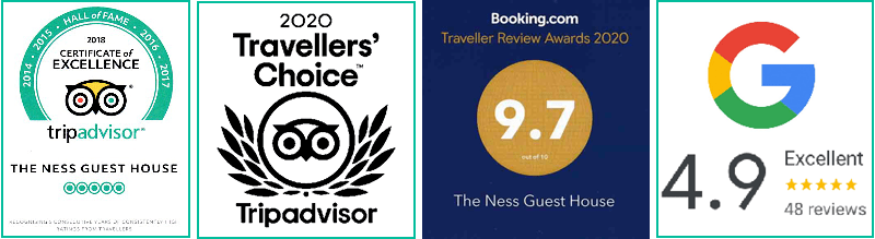 Image of the B&B Review Scores from Tripadvisor, Booking.com and Google for The Ness Guest House, B&B Inverness