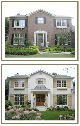 Modern Brick Home Exterior Renovation Painted