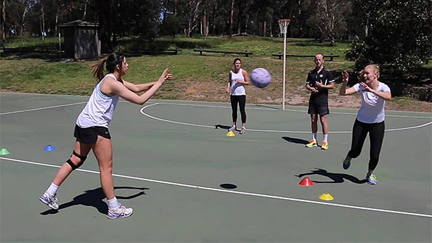 Netball coaching intercept drill video ball