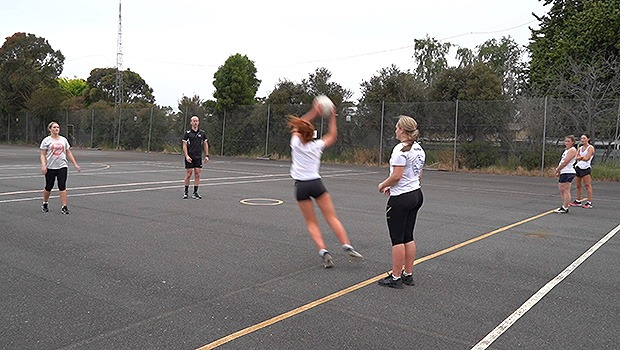 Cut it off drop it short rip it in netball intercept drill