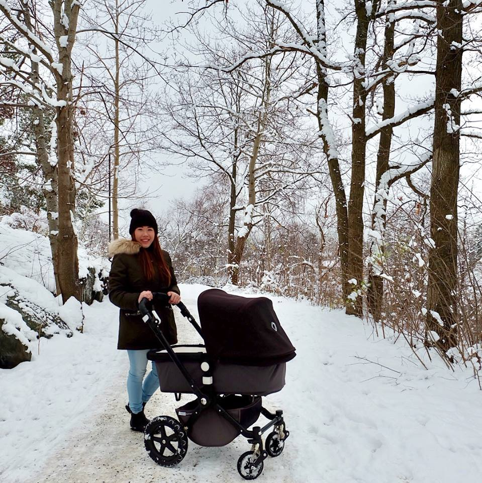 Strolling with the baby in winter