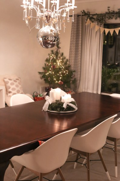 Styling up the standard issue diplomatic Drexel furniture with a few decorations for the holidays by a foreign service spouse