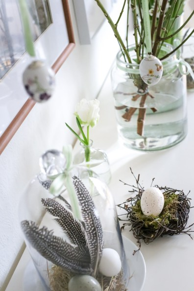 Decorating the dining room for the Easter and spring holidays with Drexel furniture as a backdrop in Copenhagen, Denmark
