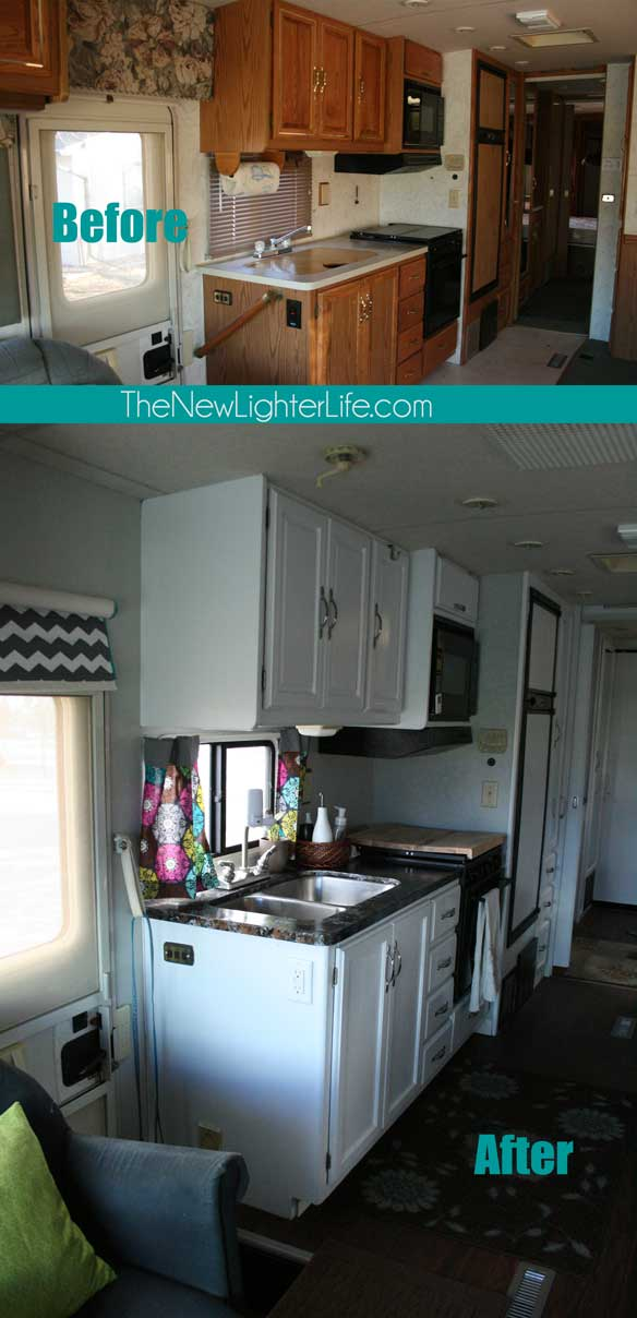 gray chevron chair black spandex covers for weddings the big reveal ~ remodel pictures of our 96 winnebago adventurer - new lighter life