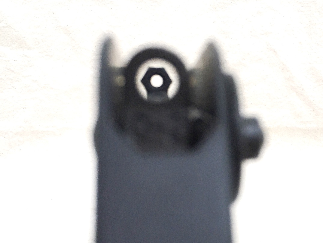 Sight picture with large aperture rear and machine nut ghost aperture front sight