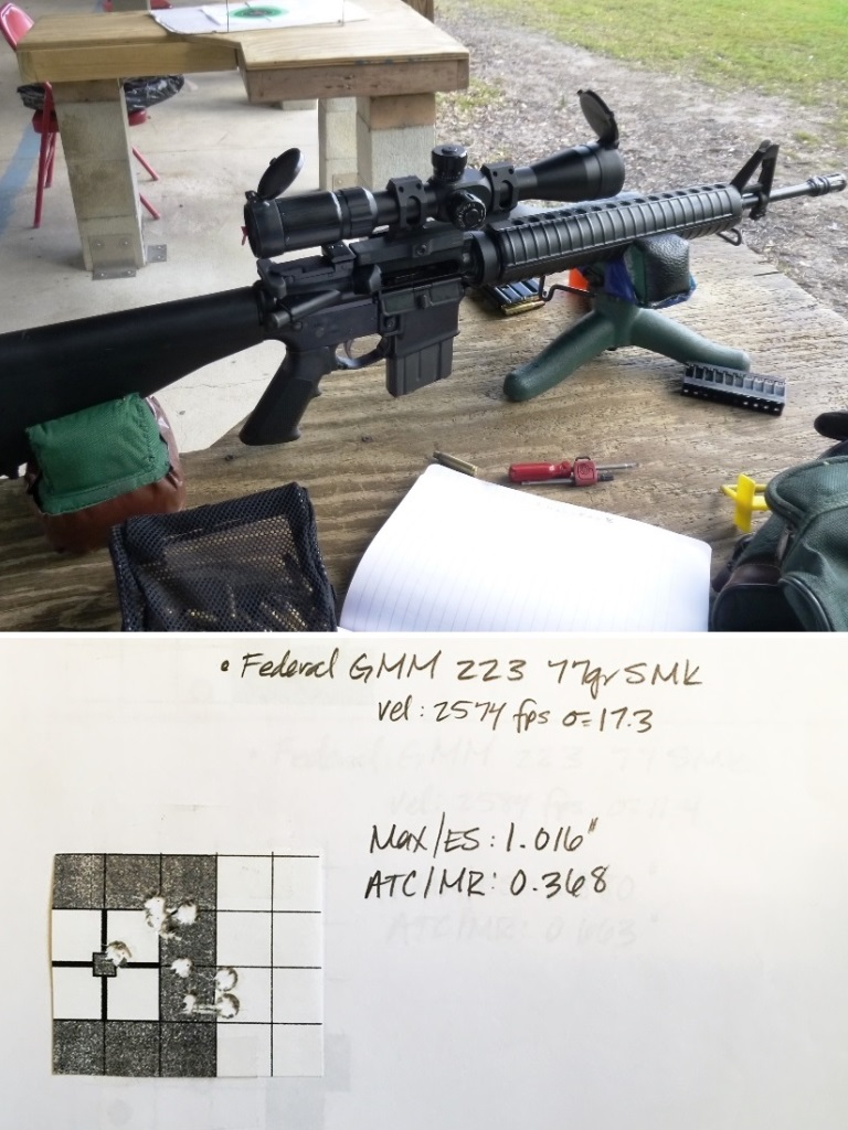 "Faxon 18"" gunner barrel assembled using the techniques in this article. 10 shots at 100 yards using Federal Gold Meal Match 77gr ammunition and a SWFA 10x mildot scope. the barrel is NOT free floated. The results are VERY good"