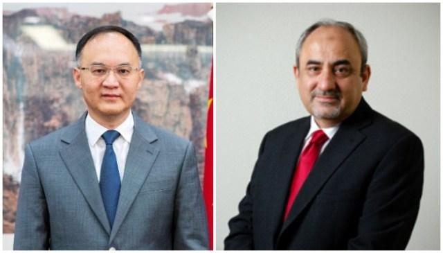 پاکستان میں چینی سفیر نون رونگ (L) اور CPEC اتھارٹی کے نئے سربراہ خالد منصور (R)