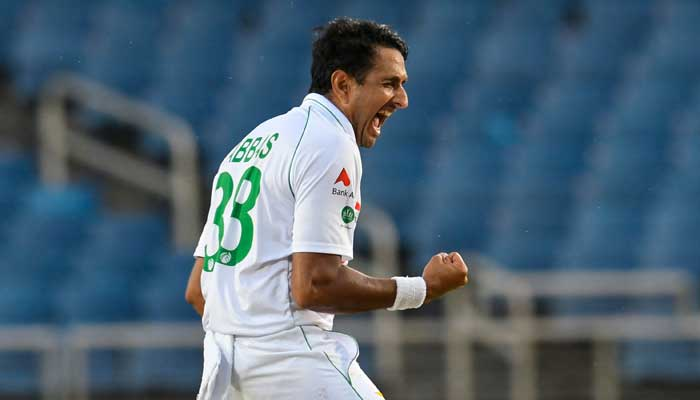 Mohammad Abbas of Pakistan celebrates the dismissal of Nkrumah Bonner of West Indies during day 1 of the 1st Test between West Indies and Pakistan at Sabina Park, Kingston, Jamaica, on August 12, 2021.-AFP