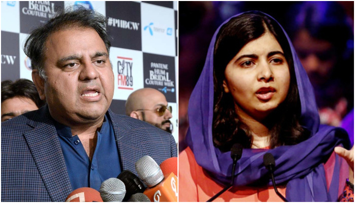 Minister for Information and Broadcasting Chaudhry Fawad Hussain speaks to media at a local hotel in Lahore, on February 6, 2021 (left) and Nobel laureate Malala Yousafzai. — APP/AFP/File