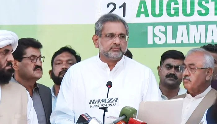 PML-N leader and former prime minister Shahid Khaqan Abbasi addressing a press conference after a Pakistan Democratic Movement (PDM) meeting in Islamabad, on August 21, 2021. — YouTube/HumNewsLive