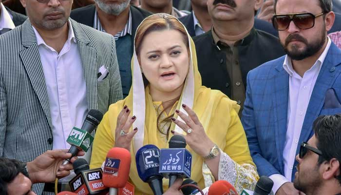 PML-Ns spokesperson Marriyum Aurangzeb says that party rejects EVMs and PMDA as they both are unconstitutional. File photo