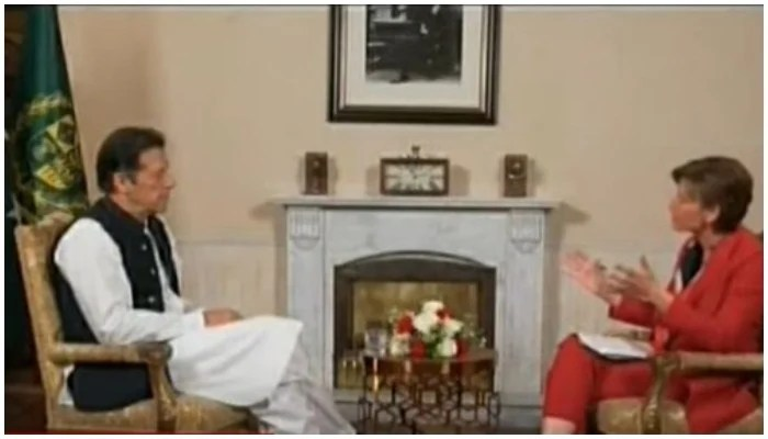 Prime Minister Imran Khan speaking to CNNs Becky Anderson in Islamabad on Wednesday, September 15, 2021. Photo: Screenshot via Hum News Live.