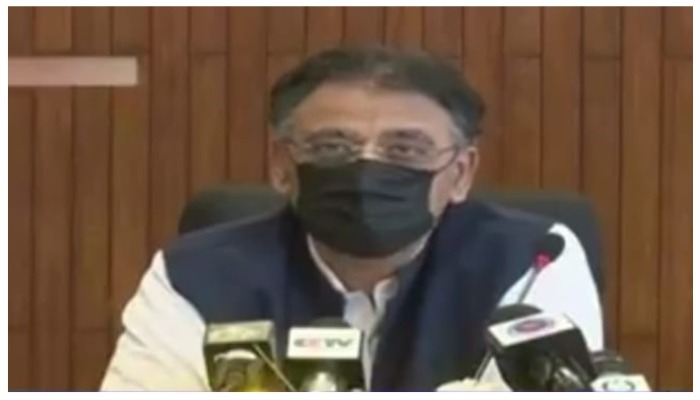 Federal Minister for Planning, Development, and Initial Initiatives Asad Umar. Geo News screengrab