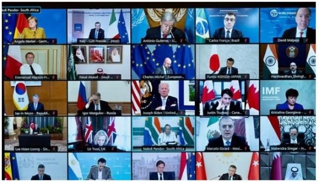 12 اکتوبر ، 2021 کو پالازو چیگی کے پریس آفس کی جانب سے دستیاب ایک ہینڈ آؤٹ تصویر ایک ٹیلی ویژن اسکرین دکھاتی ہے جہاں بین الاقوامی رہنما 12 اکتوبر 2021 کو افغانستان پر مرکوز جی 20 رہنماؤں کے سربراہی اجلاس میں حصہ لے رہے ہیں۔