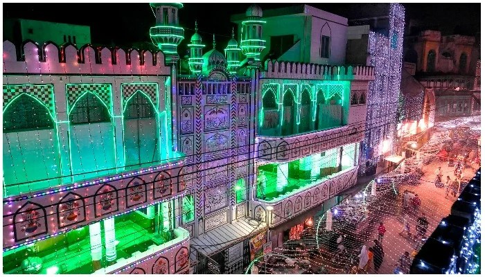 A mosque illuminated with lights as a celebration of Eid Milad un Nabi (PBUH) in Lahore. Photo: AFP