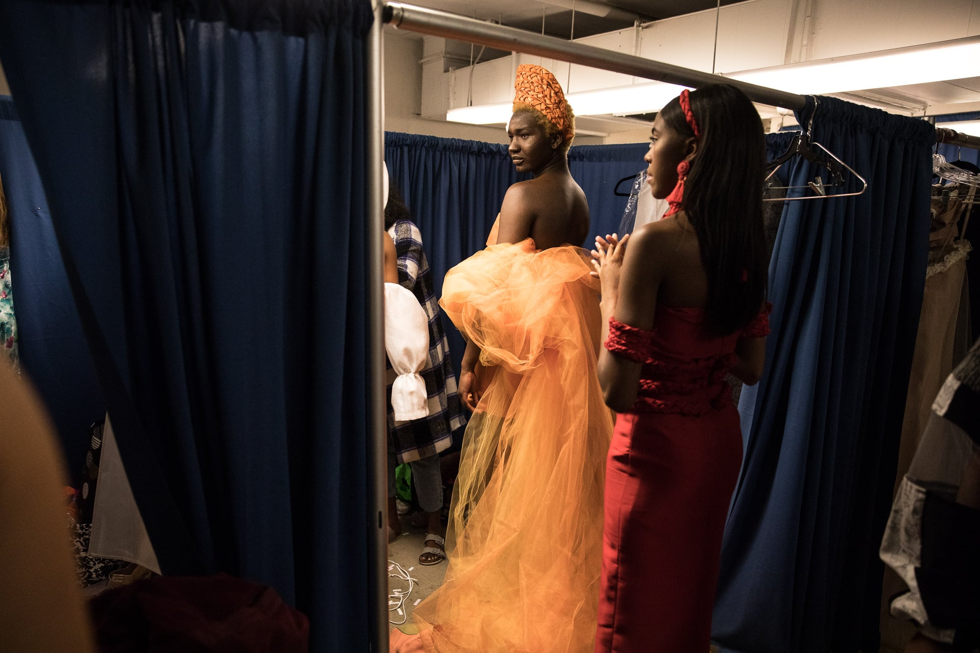 Models prepare backstage