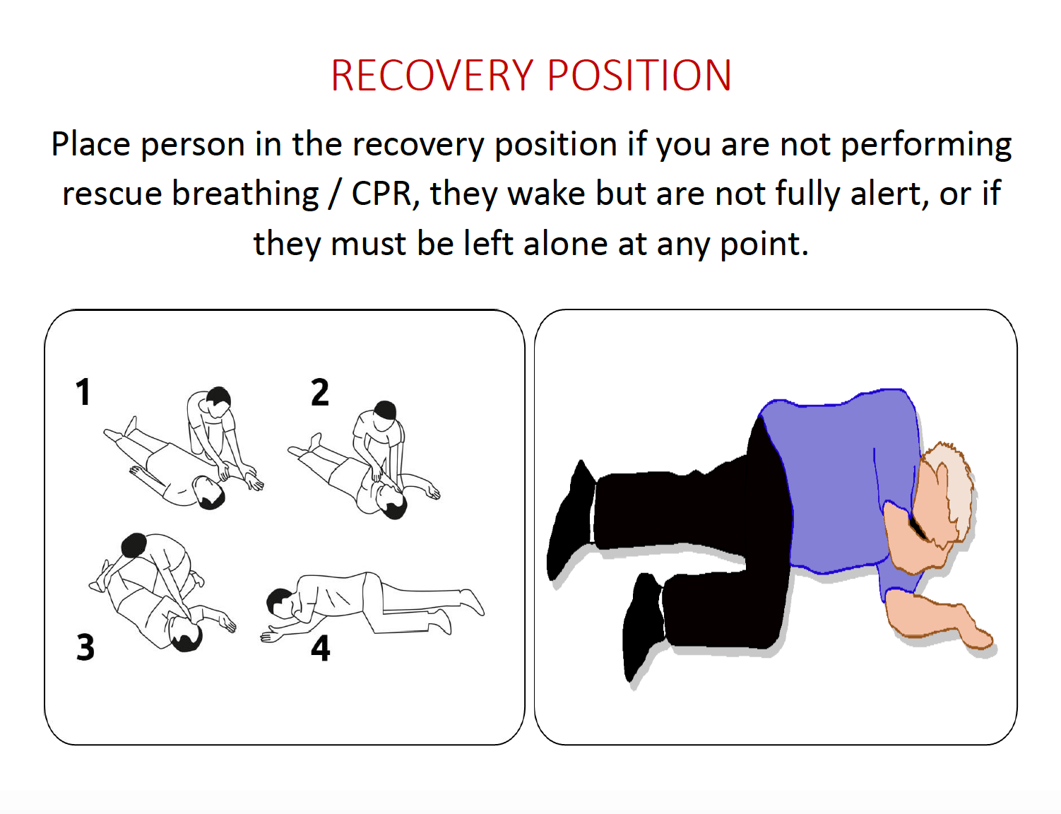 Step 5: Provide rescue breathing for the next two to three minutes, or put the person in the recovery position.