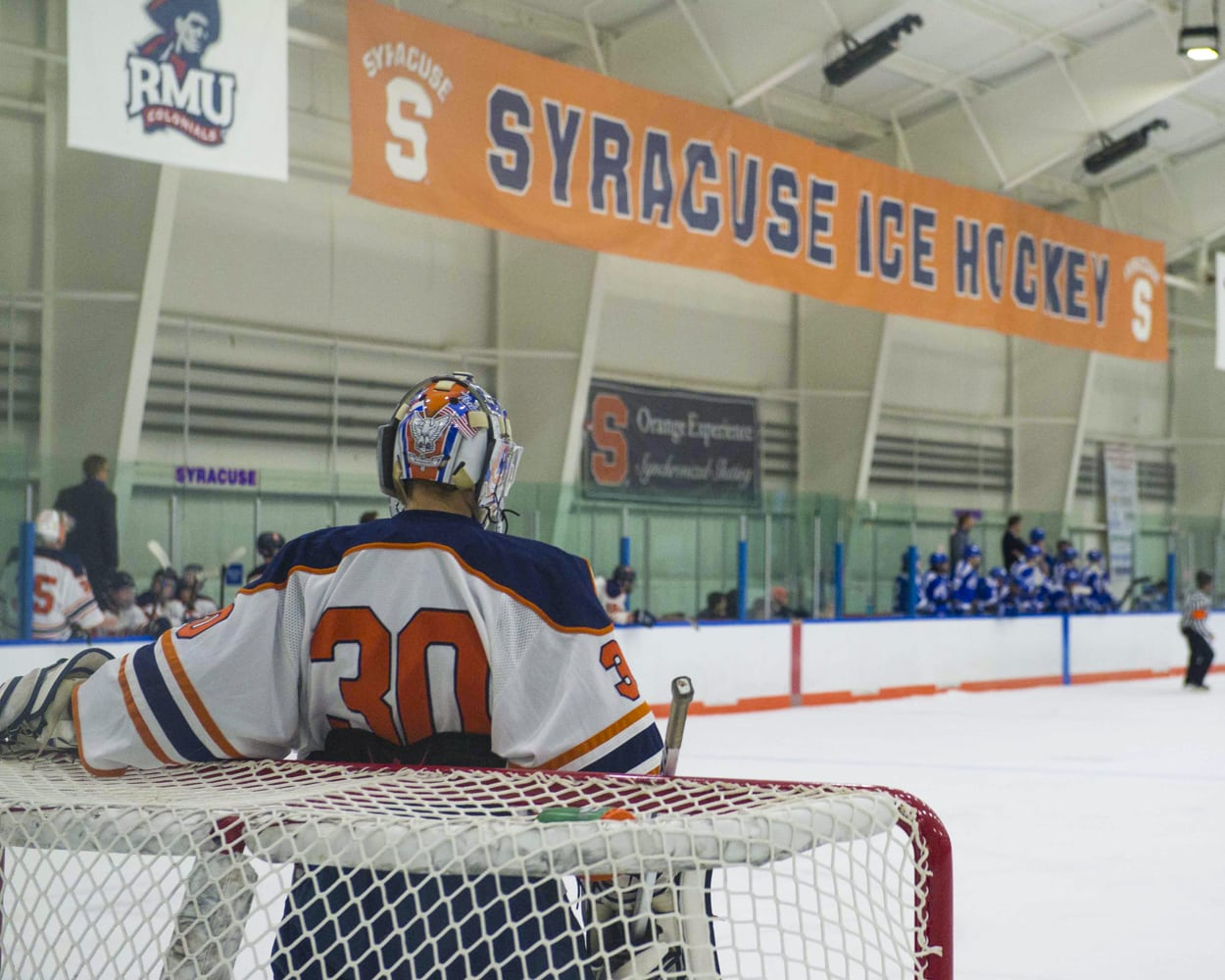 SU hockey goalie helmet