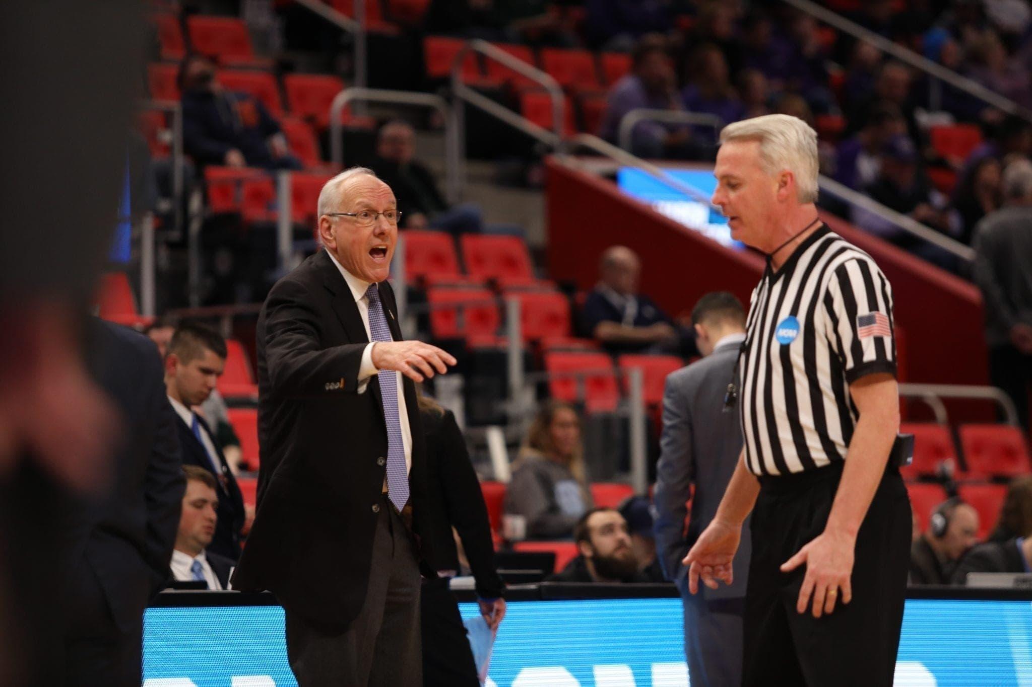 SU vs. Texas Christian: Jim Boeheim and referee