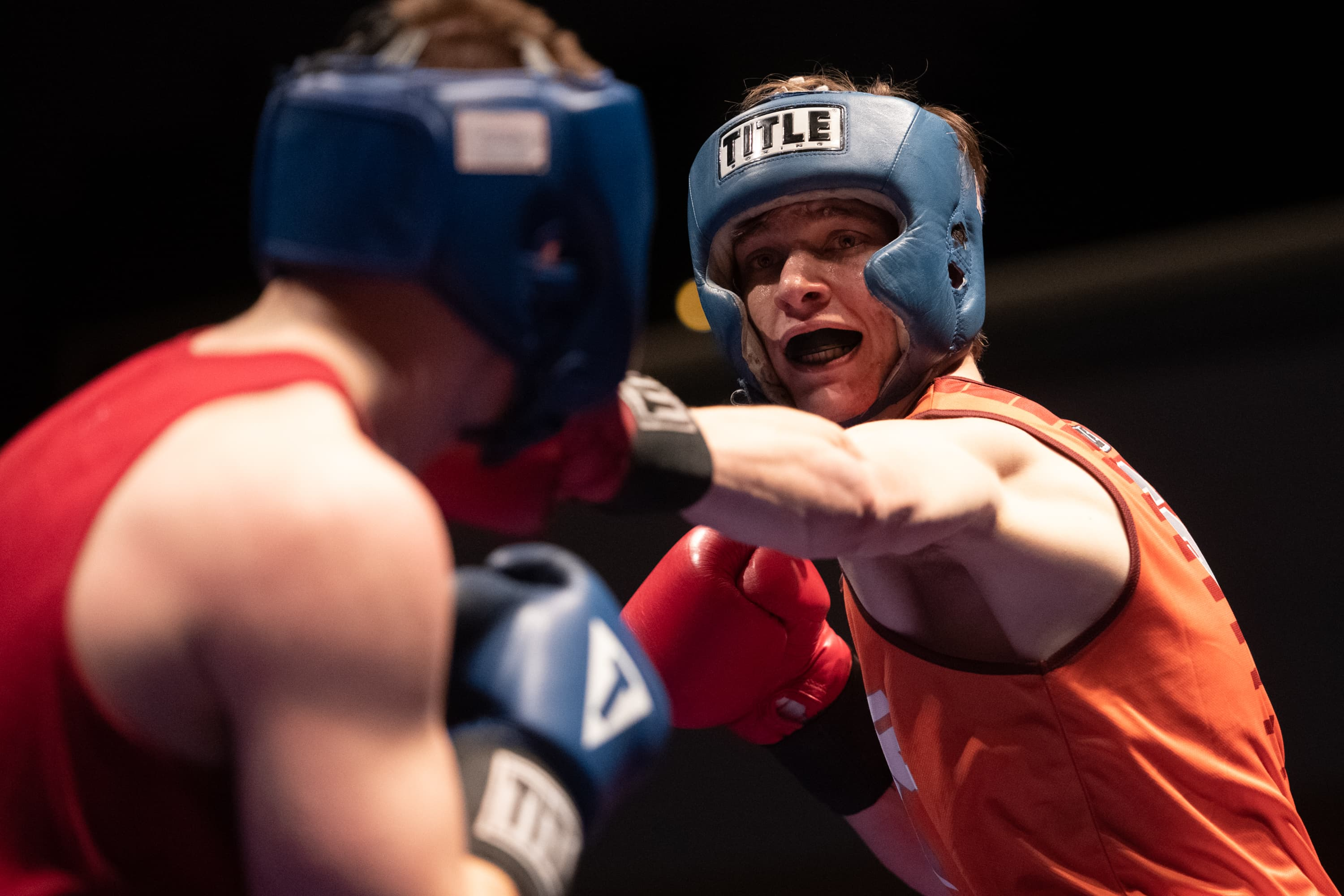 Syracuse graduate student Jeff Frelier fights against Iowa State's Brandon Peck in the championship match in 178-pound bracket at the Goldstein Auditorium on March 24, 2019. Syracuse University hosted the United States Intercollegiate Boxing Association's national championship this past weekend.