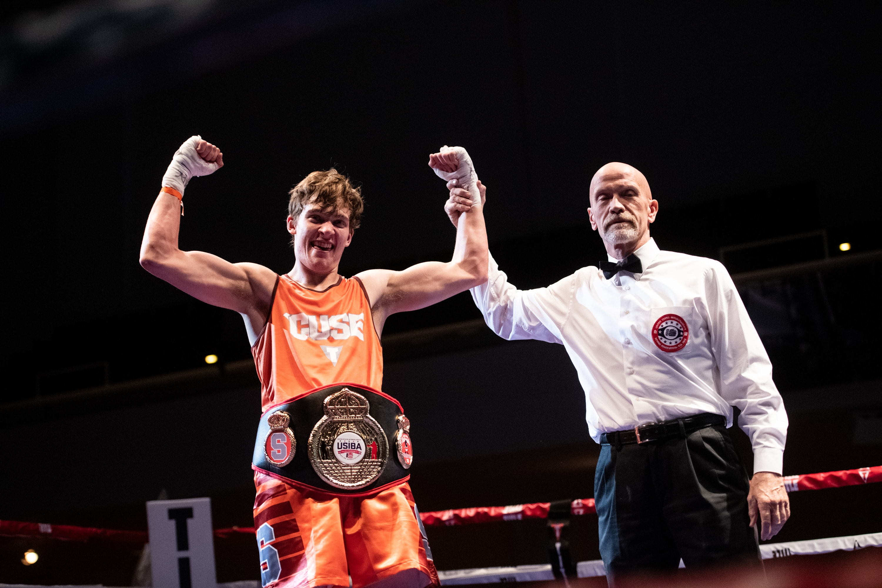 Syracuse graduate student Jeff Frelier is announced as the 178-pound champion during the national boxing tournament at Goldstein Auditorium on March 24, 2019. Syracuse University hosted the United States Intercollegiate Boxing Association's national tournament this past weekend.