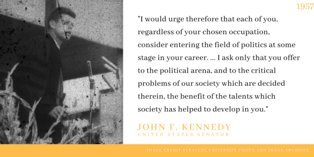 John F. Kennedy delivers 1957 commencement address