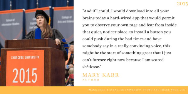 Mary Karr delivers 2015 commencement address