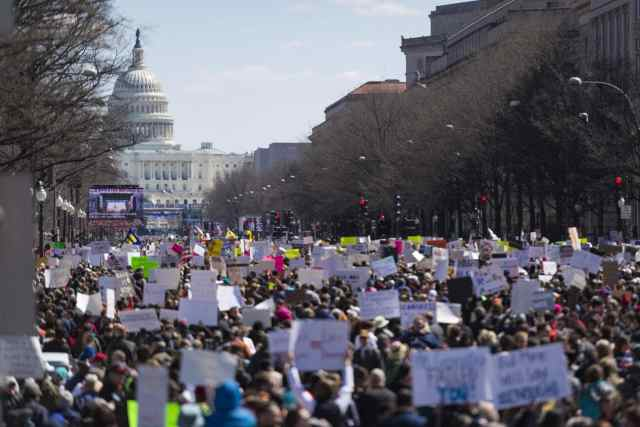 Hundreds of thousands of marchers attended the March for Our Lives rally in Washington DC.