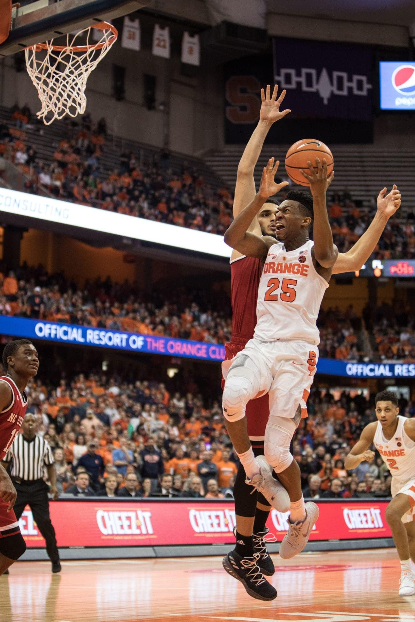 Tyus Battle flies toward the hoop.