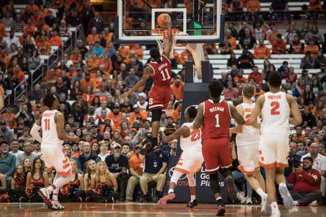 NC State player dunks