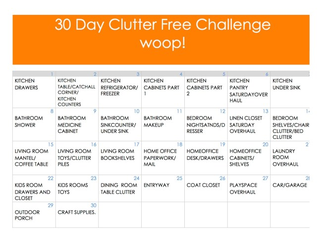 30 Day Clutter Free Challenge