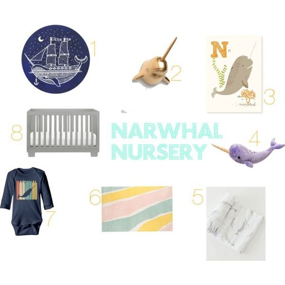 Narhwal Themed Nursery for Baby