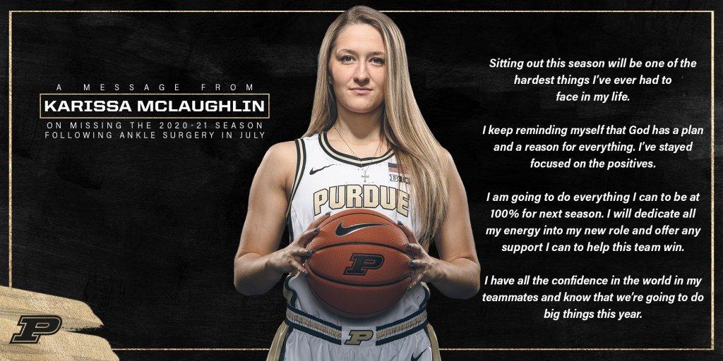Purdue's Karissa McLaughlin to miss entire 2020-21 season
