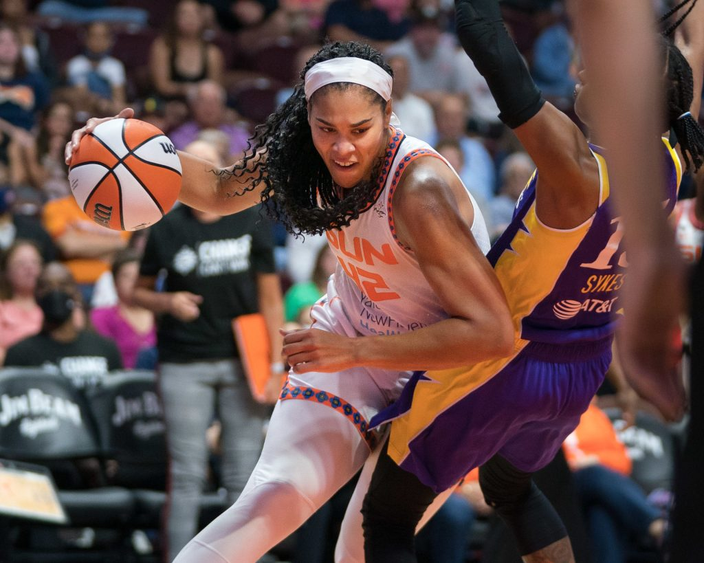 Connecticut Sun forward Brionna Jones (42) during the WNBA game between the Los Angeles Sparks and the Connecticut Sun at Mohegan Sun Arena, Uncasville, Connecticut, USA on August 28, 2021. Photo Credit: Chris Poss