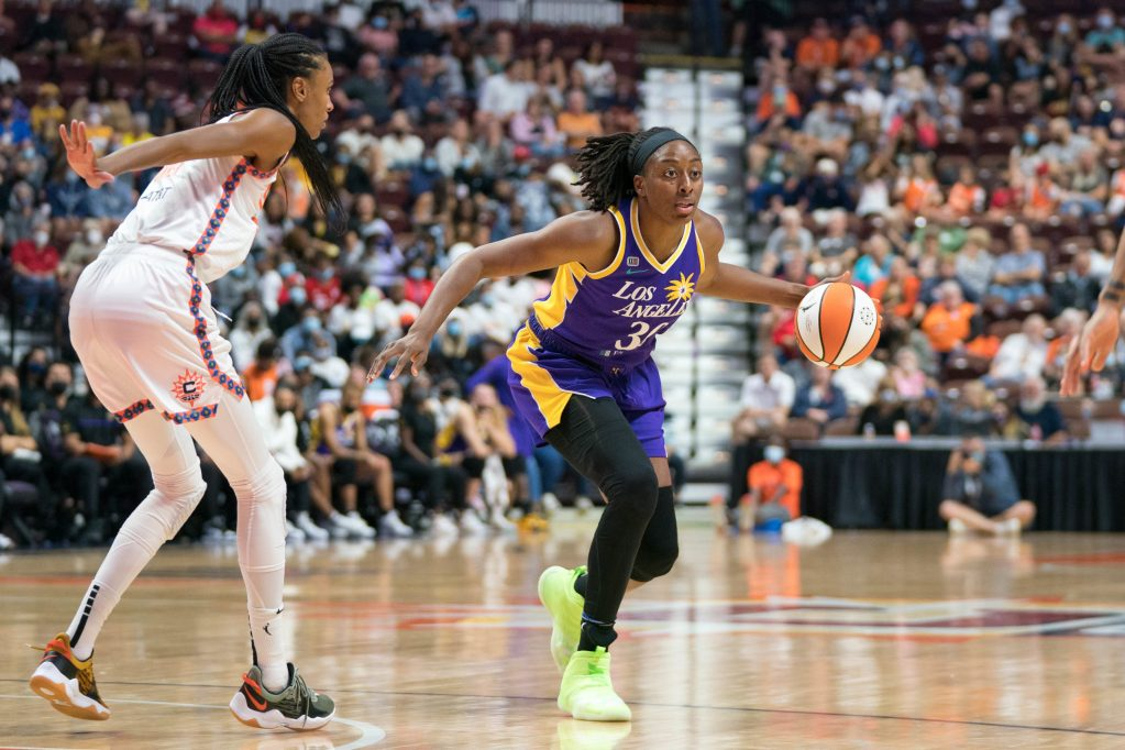 Los Angeles Sparks forward Nneka Ogwumike (30) during the WNBA game between the Los Angeles Sparks and the Connecticut Sun at Mohegan Sun Arena, Uncasville, Connecticut, USA on August 28, 2021. Photo Credit: Chris Poss