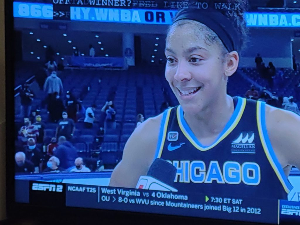 Chicago Sky forward/center Candace Parker is interviewed after her team's first-round playoff win over the Dallas Wings on Sept. 23, 2021. (Screenshot by Alison Moran-Powers)