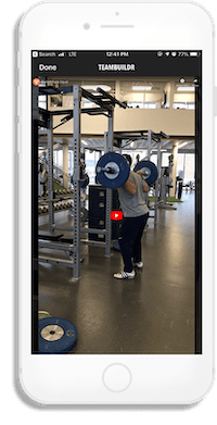 iPhone screenshot displaying instructional video clip for a given workout
