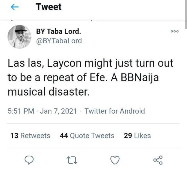 #BBNaija: Man speaks on Laycon's music career, says he might turn out like Efe