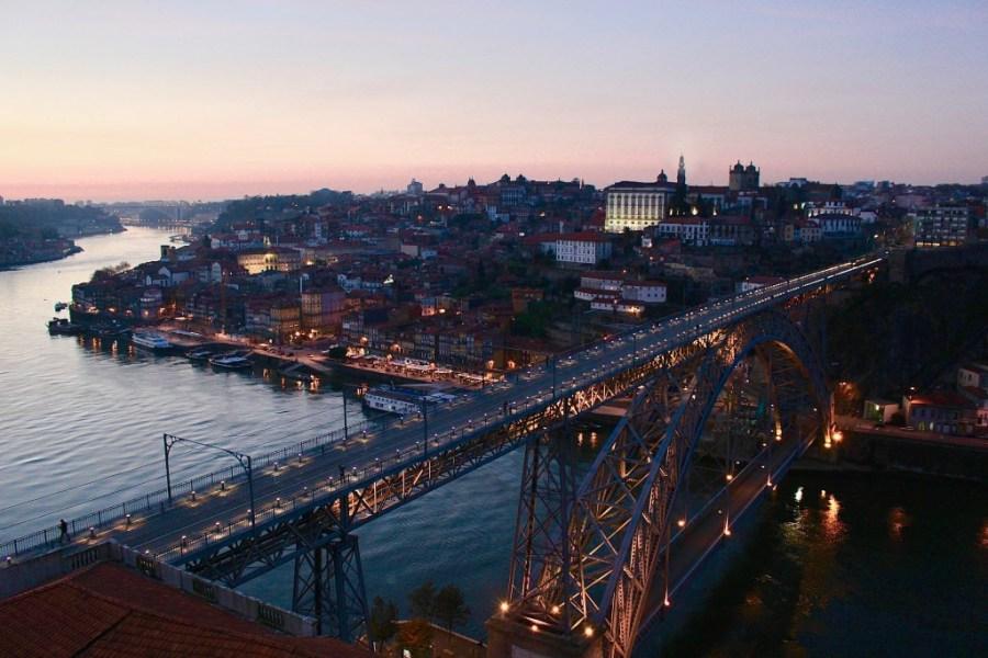 sunset at douro river in porto